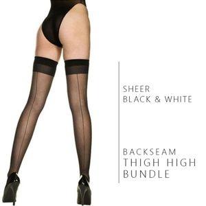 Accessories - NWT Sheer White & Black Back Seam Stocking Bundle